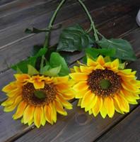 echte künstliche blumen großhandel-62 CM (24 zoll) sunflower Künstliche Hohe qualität echten look Silk Blumen sonniger tag Dekoration für Hochzeit hotel wohnzimmer vase SH002