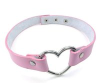 Wholesale Emo Choker Necklaces - Womens Leather Choker Necklace Grils Punk Goth Emo Heart Collar Choker Chain four color Drop Shipping