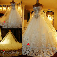 Wholesale Princess Cathedral Veil - Luxury Crystal Wedding Dresses Lace Cathedral Lace-up Back Bridal Gowns 2015 A-Line Sweetheart Appliques Beaded Garden Free Sets Free Veil