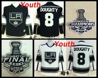 Wholesale Cheap Kids Cups - Youth Los Angeles Kings #8 Drew Doughty Kids LA Kings 2014 Stanley Cup Home Black Road White Cheap Stitched Hockey Jerseys China