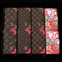 Wholesale Mobile Phone Leather Lanyard - Luxury brand mobile phone wallet leather case for iphone X 7 7plus 8 8plus with card slot lanyard protection shell cover for 6 6S 6plus