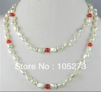 Arriver Natural Pearl Jewelry-New Wholesale Belle 7-8mm Blanc Véritable perle d'eau douce Red Jade Collier 36 '' Fashion Lady de