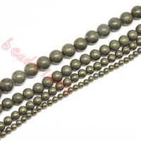 """Wholesale Round Pyrite Beads - Free Shipping Natural Stone Iron Pyrite Round Loose Beads 16"""" Strand 4 6 8 10 12MM Pick Size For Jewelry Making(F00252)"""