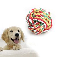 Wholesale Cotton Ball Cat Toy - Funny Pet Puppy Cat Dog Cotton Rope Braided Knot Ball Chew Playing Fetch Toy Random Color 00974