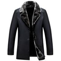 erkek giyim deri ceket toptan satış-Toptan-Rus Kış Siyah deri ceketler Yüksek kaliteli Kalın Sıcak Erkek deri ceket ve ceket Moda Casual Erkek Giyim jaquet