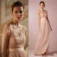 Wholesale Party Fair White Lights - Blush Hot Sale Bridesmaid Dresses 2016 Lace Top A Line Tulle Floor Length Summer Beach Maid of Honor Gowns Fair Wedding Party Gowns