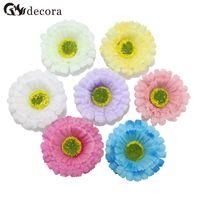 Wholesale Decor For Displays - 5cm Head 7 Colors Artificial Flower Headbnd Artificial Daisy Flowers Heads for DIY Wedding Party Decor (50pcs lot)