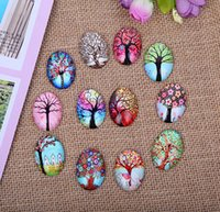 Vente en gros 250pcs / lots Mixed Color Tree Of Life Oval Verre Cabochon Dome Bijoux Trouver Cameo Pendant Settings