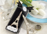 Wholesale Wholesale Eiffel Tower Party Favors - 100pcs  lot Free Shipping Creative novelty home party items The Eiffel Tower bottle opener wedding favors,gift box packaging