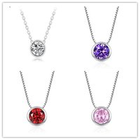 Wholesale American Jewellery Designs - New Fashion Simpe Design Small Round Cubic Zirconia Solitaire Pendant Necklace Jewellery For Women and Girls 4 Colors MM