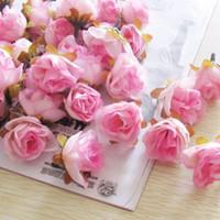 tapeçarias vermelhas venda por atacado-300 pcs Multi Cor Pequeno Chá Rosa Diy Subiu Flores De Seda Flores Artificiais Cabeças De Flores Para Casa Decoração de Casamento Cabeça de Flor FZH032