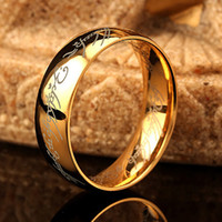 Wholesale Hobbit Silver - Wholesale- 6mm One Ring Of Power The Lord Of Rings Silver Gold Black Hobbit 316l Stainless Steel Ring Men Fashion Male Jewelry For Women