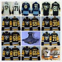 Wholesale Army Kid - Youth Pittsburgh Penguins 87 Sidney Crosby Mario Lemieux Evgeni Malkin Letang Phil Kessel Guentzel 30 Matt Murray Black Kids Hockey Jerseys