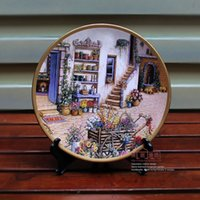 Wholesale Rustic Ceramic Plates - Fashion decoration plate hanging plate wall wobble ceramic crafts hand painting plate rustic american