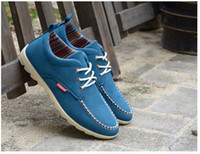 Wholesale Canvas Boat Sneakers - 2015 new fashion men's canvas shoes Peas shoes Flat shoes Driving Shoes Boat Shoes Casual Shoes Sneakers