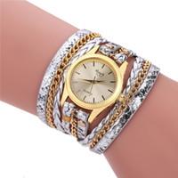 señoras envuelven relojes al por mayor-Vestido de lujo de las mujeres Vestido de la armadura Wrap Relojes de pulsera analógicos de cuarzo de cuero de la señora de las mujeres Reloj de pulsera informal Relojes de regalo de Navidad