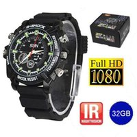 HD 32Go Spy Watch Camera IR Vision nocturne 1080P Waterproof caméra cachée Watch