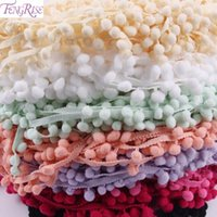 Wholesale Wholesale Fabric Sewing Material - Lace Fabric 5 yard 1cm Sewing Accessories Pompom Trim Pom Pom Decoration Tassel Ball Fringe Ribbon DIY Material