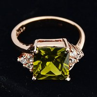 Wholesale Olive Ring - 18K Rose Gold Plated Alloy Elegant Olive Color Big Imitation Crystal Wedding Rings for Women