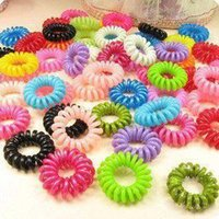 Wholesale Cord Wire Elastic - Wholesale 30 pcs mulit-color Telephone Wire Cord Girl Elastic head Tie Hair Band