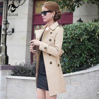 Wholesale Woman Trenchcoat - Wholesale- HZIJUE 2017 new spring autumn women coat medium-long trenchcoat sashes thin women casual dress coat for women