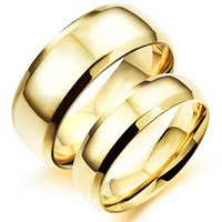 Wholesale Plain Gold Wedding Bands - Free Laser Engrave High Polished Fashion Plain Simple Engagement Rings in Stainless Steel Classic Couple Wedding Rings - Silver, Gold