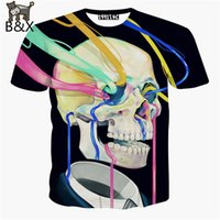 Wholesale Men S Skull Tie - Newest men harajuku t shirt printing skull t-shirt clothing 3d graphics t shirt Tie-dye painting tee shirt