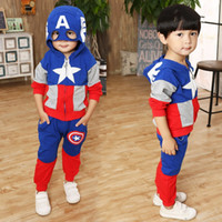 Wholesale Kigurumi For Kids - Christmas costumes for the boys cartoon kids winter clothes kigurumi sets outfit children cosplay Captain America tops+pants