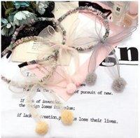 Wholesale Wholesale Yarn Cloth - Children hair sticks Girls floral cloth hair accessories Kids bows net yarn hair bulb headdress kids photography headwear C2376