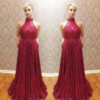 Wholesale Cheap Modest Bling Prom Dresses - 2018 Bling bling red sequined backless evening prom dresses with pocket cheap halter simple modest long formal dresses evening wear gowns
