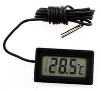 termómetro nuevo mini al por mayor-Nuevas ventas Professinal Mini LCD FY-10 Termómetro digital Sensor de temperatura Frigorífico Congelador Termómetro -50 ~ 110C Controller GT negro