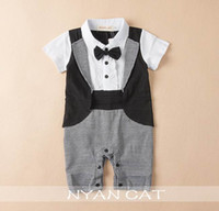 Wholesale Handsome Black Baby Boy - Retail Baby Boys Rompers Bow Tie Black White Plaid Summer Short Sleeve Handsome Jumpsuits Overalls infant Clothes E13714