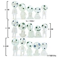 15pcs / set Princess Mononoke Светящиеся статуэтки статуэтки Elves Tree Elves Hajo Miyazaki Cartoon Alien small Cute Kodamas Toys подарок