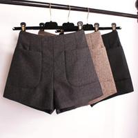 Wholesale Plus Size Women S Boots - Winter Shorts 2017 Korean High Waist Shorts Women Wool Boots Fashion Shorts Black Grey Khaki Big Pocket Plus Size S M L XL