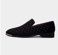 Wholesale loafer moccasin flat shoes resale online - Men gold spike plus size black navy suede leather penny loafers moccasins slip ons boat shoes smoking wedding dress shoes D2n10