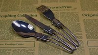 Wholesale Talheres Stainless Steel - Stainless Steel Foldable Travellers Spork Suit w Nylon Pouch Camping tableware, folding portable talheres em inox tableware TY816