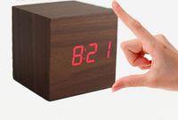 Wholesale Electronic Calendar Alarm - Cheap Cube Wooden LED Alarm Clock Temperature Sounds Control display electronic desktop Digital Wooden table clocks Creative