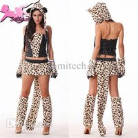 Wholesale Tiger Leopard Dresses - Wholesale-carnival costume Luxurious Leopard Tiger Sexy costume High Quality Fur&PU Patchwork Dress Fantasia Halloween cosplay MM002