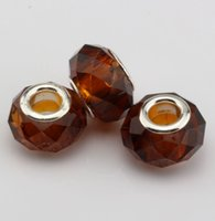 Wholesale 14mm Round Faceted - Hotl ! 100pcs 14MM Coffee Faceted Crystal Glass Big Hole Beads Fit Charm Bracelets