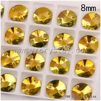 Wholesale Crystal Rivoli Diamond - Light topaz Color 8mm Two Holes Rivoli Best Quality Flat back Loose Diamond Sew on Crystal Rhinestones Beads
