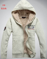 Wholesale White Hooded Cardigan Sweater - Men's wool sweater, thick velvet hooded cashmere cardigan sweater(M123)