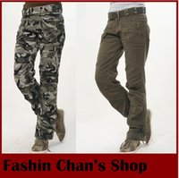 Wholesale Cargos Pants For Sale - Wholesale-Hot sale New Fashion Autumn-Summer Army Green Denim camouflage cargo pants women, loose jeans baggy camo pants for woman