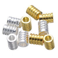 Wholesale Free Tv Tube - 100 pcs gold and silver metal detailed tube cylinder spacer beads 7.3x10 mm free shipping