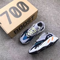 Wholesale Fabric Chalk - Newest Kanye West Wave Runner 700 Running Shoes 700 Boost Shoes Solid Grey Chalk White Core Black Fashion Casual Sports Sneakers