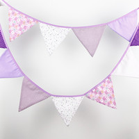 Wholesale Baby Boy Bunting Banner - 12 Flags - 3.2M Cotton Fabric Banners Personality Wedding Bunting Decor Purple Pink tune Boy Party Birthday Baby Shower Garland Decoration