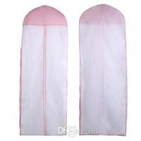 sacolas de vestuário rosa venda por atacado-2016 Barato Frete Grátis Nenhum Logotipo Vestido de Casamento Saco de Vestuário Capa de Viagem De Armazenamento De Viagem Tampa Protetora Contra Poeira Plus Size 180 cm Branco Rosa Acessórios Do Casamento