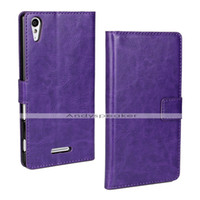 Wholesale Xperia Cell Phone Cases - New Crazy Horse Wallet Leather Case for Xperia T3 Stand With Card Slot Holder Protective Colorful Cell Phone Cases 20pcs