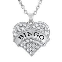 Hot Selling Rhodium Plated Crystal Text BINGO Daugle Heart Pendentif Colliers Link Chain Jewelry