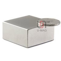 Wholesale Super Magnets N52 - 1pcs Block 40x40x20mm N52 Super Strong Rare Earth magnets Neodymium Magnet high quality Free shipping