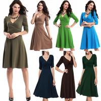 Wholesale Work Clothes Wholesale - Women's Clothing Work Dresses Spring Autumn Half Sleeve Plus Size Elegant V-Neck 1 2 Sleeve Solid Color Office Dresswholesale Free shipping